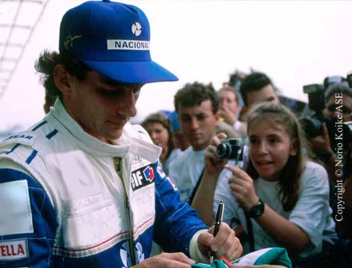 Ayrton Senna with his fans in Interlagos 1994