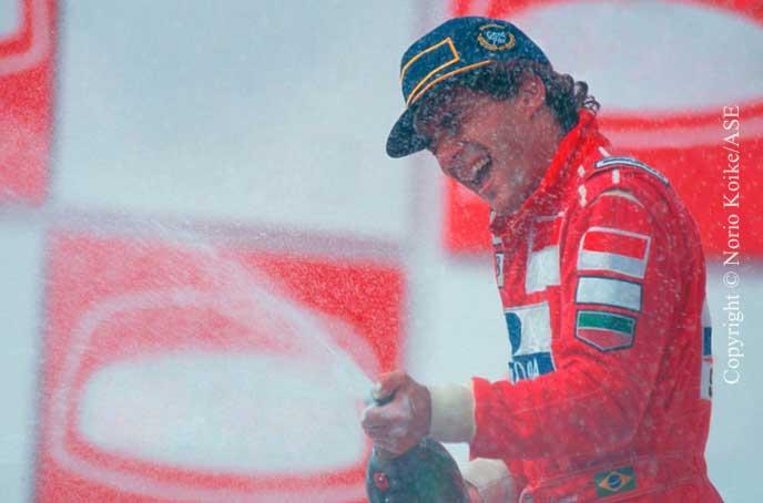 Ayrton Senna on the podium, Interlagos 1993