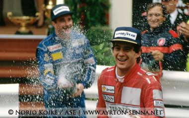 Ayrton Senna at Monaco podium in 1991