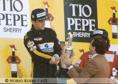 Ayrton Senna at Podium,Spain 1986