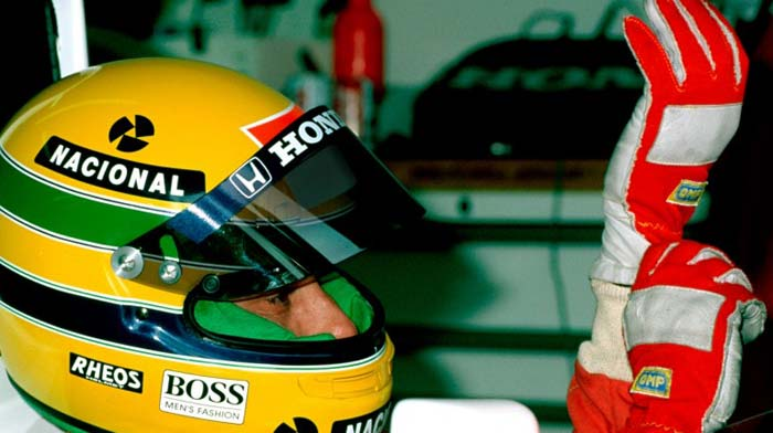 Ayrton Senna in his McLaren cocpit in 1990